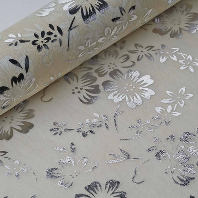 "19"" x 10 Yards Silver/Ivory Flower Design Non Woven Polyester Fabric Bolt"