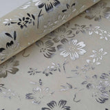 "Glossy Party Event Craft Non-Woven Flower Design Fabric Bolt By Yard -Silver/Ivory- 19""x10Yards"