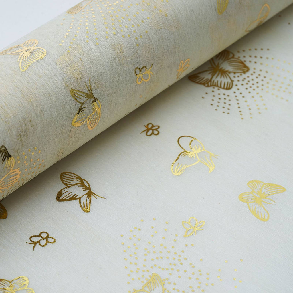 "Glossy Party Event Craft Non-Woven Butterfly Print Design Fabric Bolt By Yard -Gold/Ivory- 19""x10Yards"