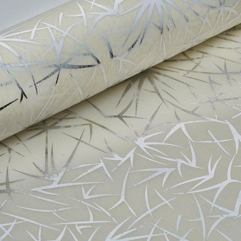 "19"" x 10 Yards Silver/Ivory Spider Grass Design Non Woven Spunbond Polyester"