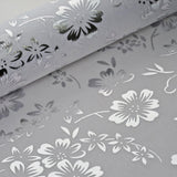 "Glossy Party Event Craft Non-Woven Falling Flowers Design Fabric Bolt By Yard -Silver/White- 19""x10Yards"