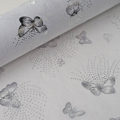 "Glossy Party Event Craft Non-Woven Flying Butterfly Art Design Fabric Bolt By Yard -Silver/White- 19""x10Yards"