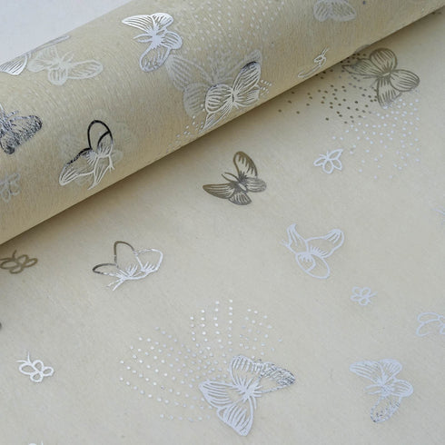 "Glossy Party Event Craft Non-Woven Flying Butterfly Art Design Fabric Bolt By Yard -Silver/Ivory- 19""x10Yards"