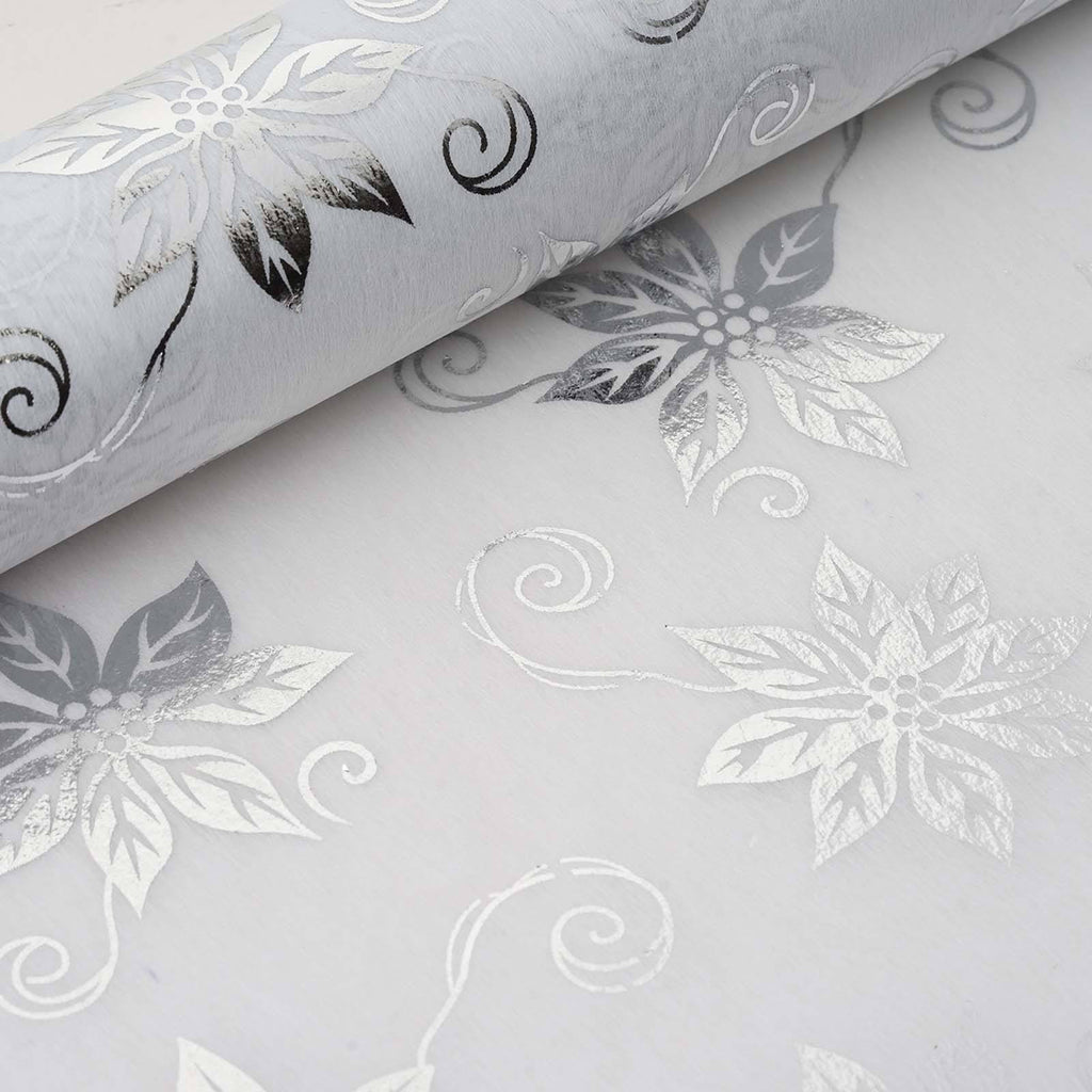 "Glossy Party Event Craft Non-Woven Big Flower Design Fabric Bolt By Yard -Silver/White- 19""x10Yards"
