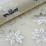 "Glossy Party Event Craft Non-Woven Big Flower Design Fabric Bolt By Yard -Silver/Ivory- 19""x10Yards"