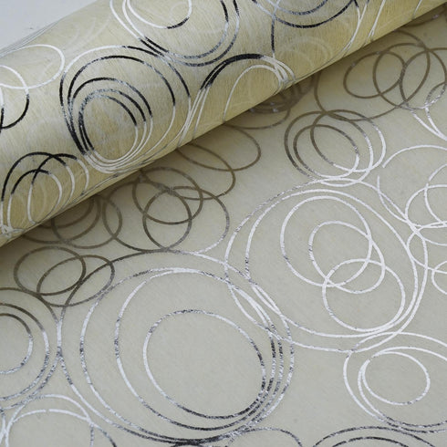 "19"" x 10 Yards Silver/Ivory Modern Art Design Non Woven Polyester Fabric Bolt"