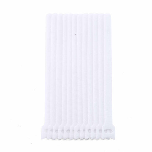 "12 Pack | 8"" White Hook and Loop Fastener Reusable Velcro Strips"