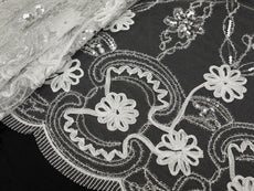 "Fashionable Wedding Party Lace Embroidered Fabric Bolt By Yard -White-54"" x 4 Yards"