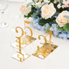 5 Pack | 5 inch Clear/Gold Acrylic Wedding Table Number Stands, Hexagon Table Sign Holders