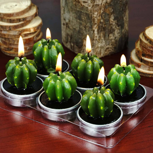Golden Barrel Cactus Tea Light Candles - 6/pk