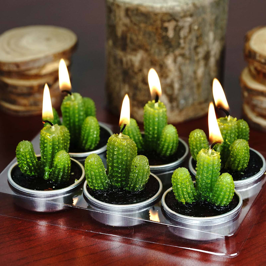 Aguacolla Cactus Tea Light Candles - 6/pk