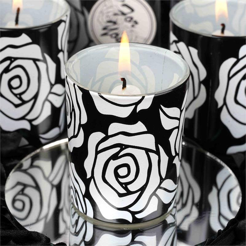 Wholesale Rose Design Votive Candle Tea Light Holders & White Candles Wedding Bridal Party Favor Gift - Black/White