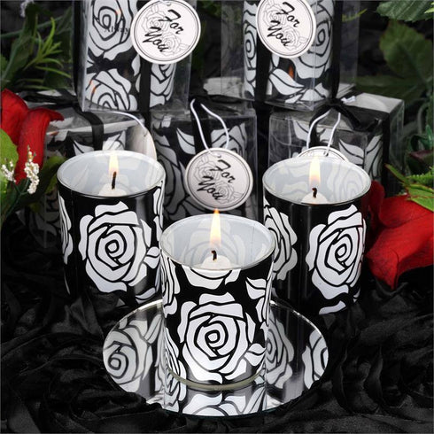Wholesale Rose Design Votive Candle Tea Light Holders & White Candles Wedding Bridal Party Favor Gift - Black/White( Sold Out )