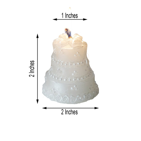 Wedding Cake Candle Favors | 1 PC | White | Gift Wrapped with Clear PVC Box & Thank You Tag