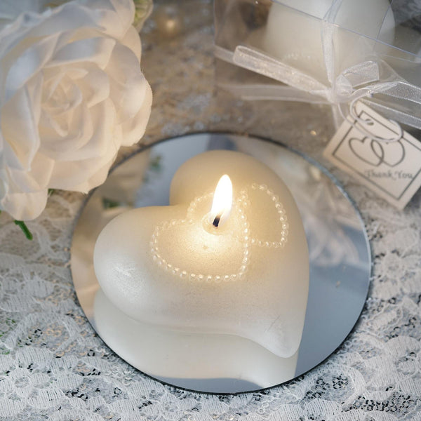 Heart Large Floating Candle | 1 PCS | White | Gift Wrapped with Clear PVC Box & Thank You Tag