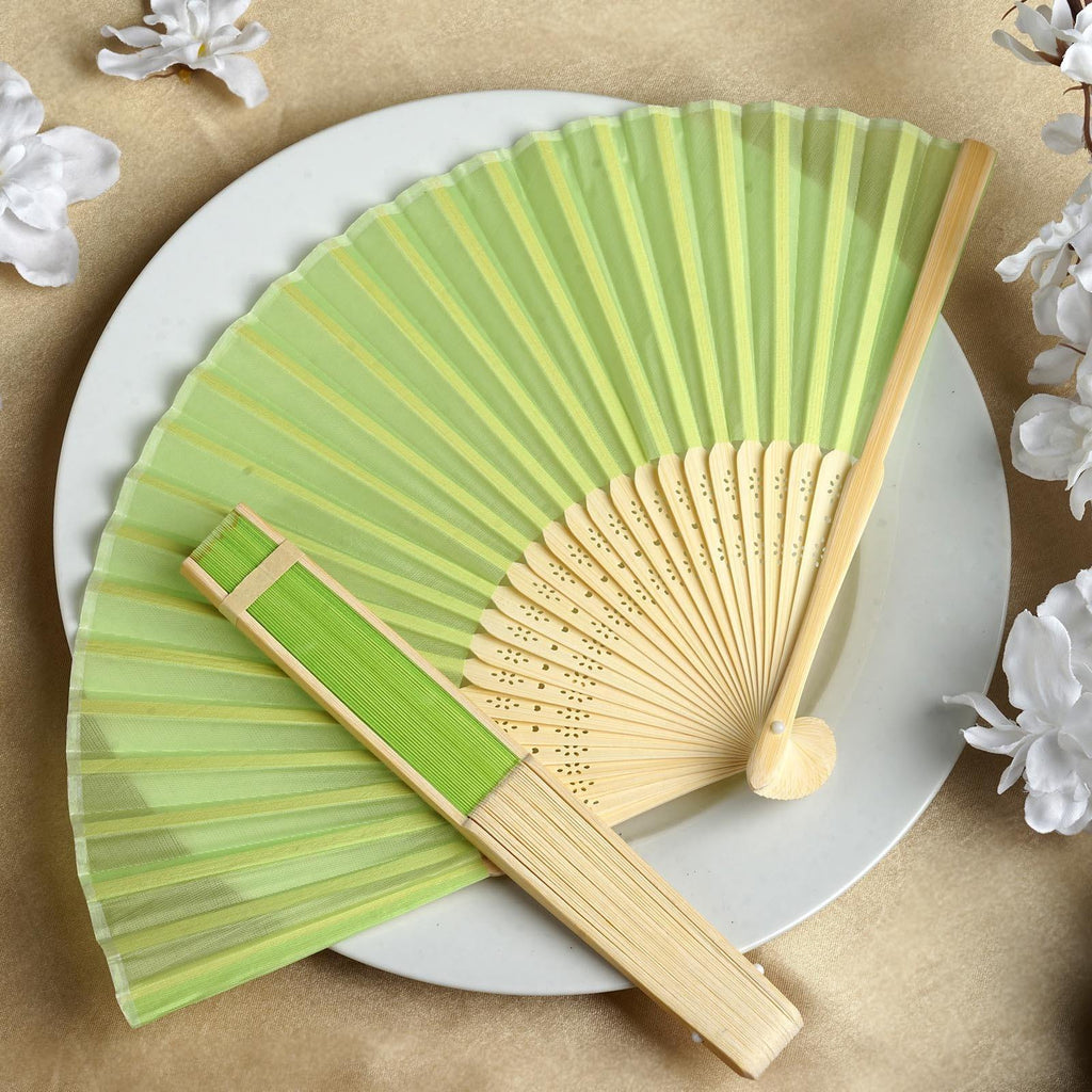 Asian Silk Folding Fans - Apple Green