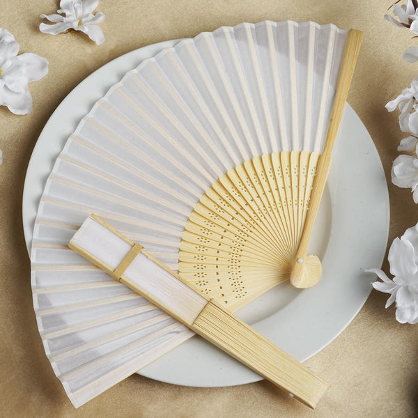 White Asian Silk Folding Fans