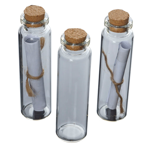 12 Pack .65 OZ Clear Glass Bottle With Cork Wedding Favor