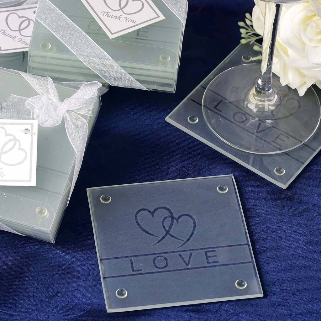 Heart Glass Coaster - Set of Four