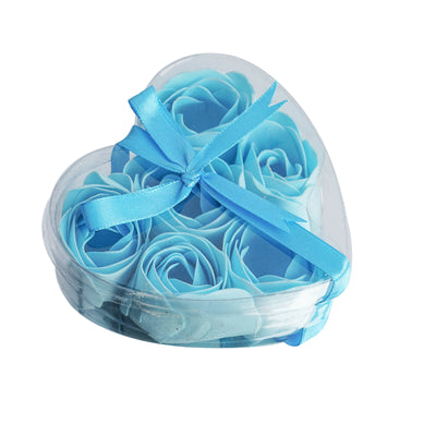 6 Pack Light Blue Scented Rose Flower Bath Shower Soap