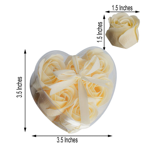Pack of 6 - Ivory Scented Rose Favor Soap Gift Box with Ribbon - Baby Shower Favors
