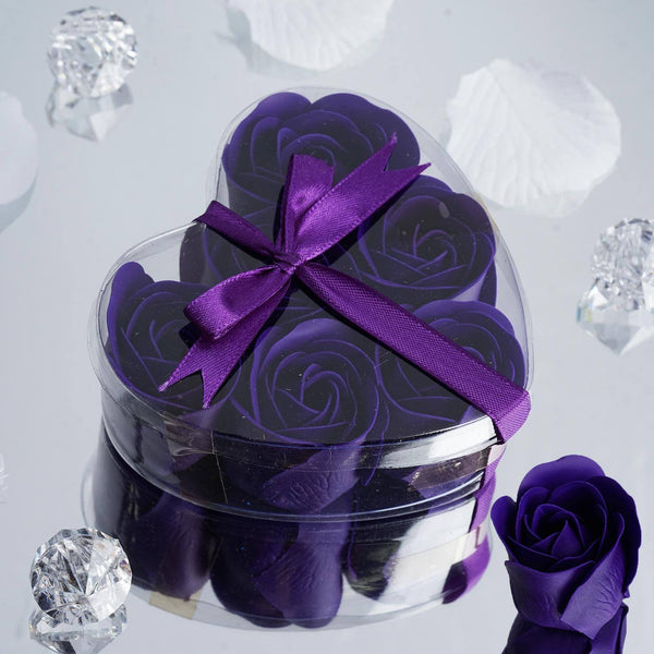 Pack of 6 - Purple Scented Rose Favor Soap Gift Box with Ribbon - Baby Shower Favors