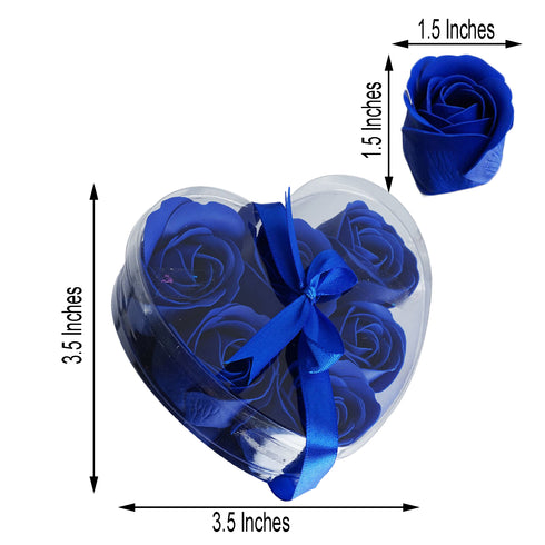 Pack of 6 - Royal Blue Scented Rose Favor Soap Gift Box with Ribbon - Baby Shower Favors