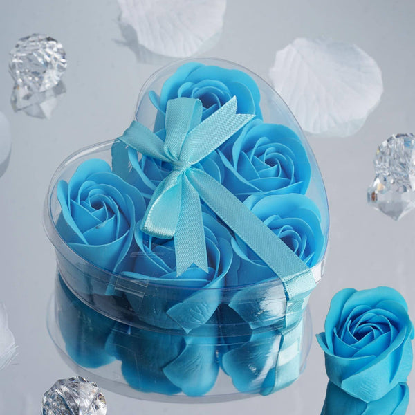 Pack of 6 - Turquoise Scented Rose Favor Soap Gift Box with Ribbon - Baby Shower Favors