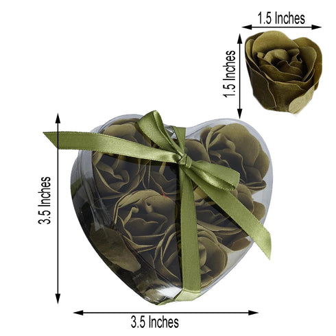 6 Pack | Moss Green Scented Rose Favor Soap Gift Box with Ribbon | Baby Shower Favors