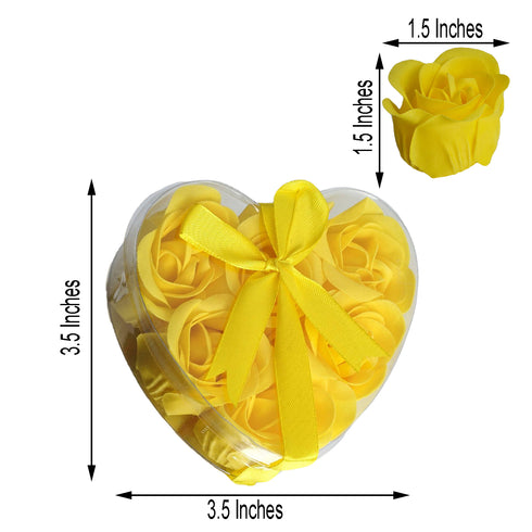 Pack of 6 - Yellow Scented Rose Favor Soap Gift Box with Ribbon - Baby Shower Favors