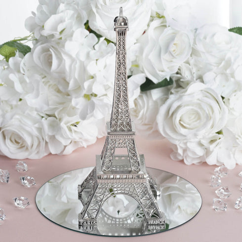 "10"" Silver Eiffel Tower Tabletop Centerpiece"