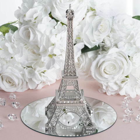 "Treasured Affection Eiffel Tower Centerpiece Silver 10"" Tall"