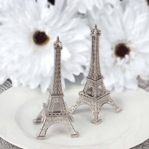 "Treasured Affection Eiffel Tower Centerpiece Silver 6"" Tall"