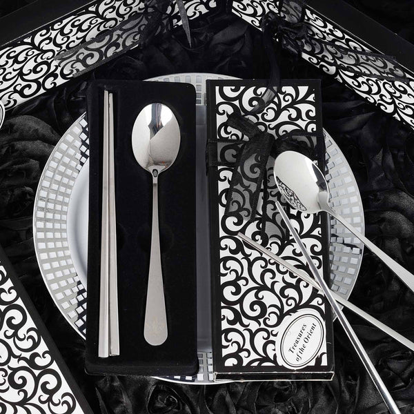 Stainless Steel Spoon & Chopsticks Set With Gift Box ,Ribbon & Tag