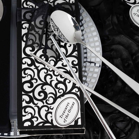 Oriental Stainless Steel Spoon & Chopsticks Set Bridal Party Favor Gift