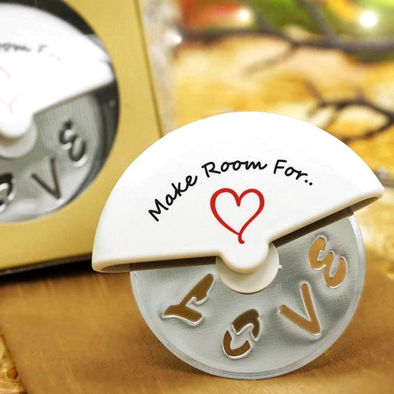 Pizza Wedding Reception Ideas: Love Pizza Cutter Bridal Party Favor Gift