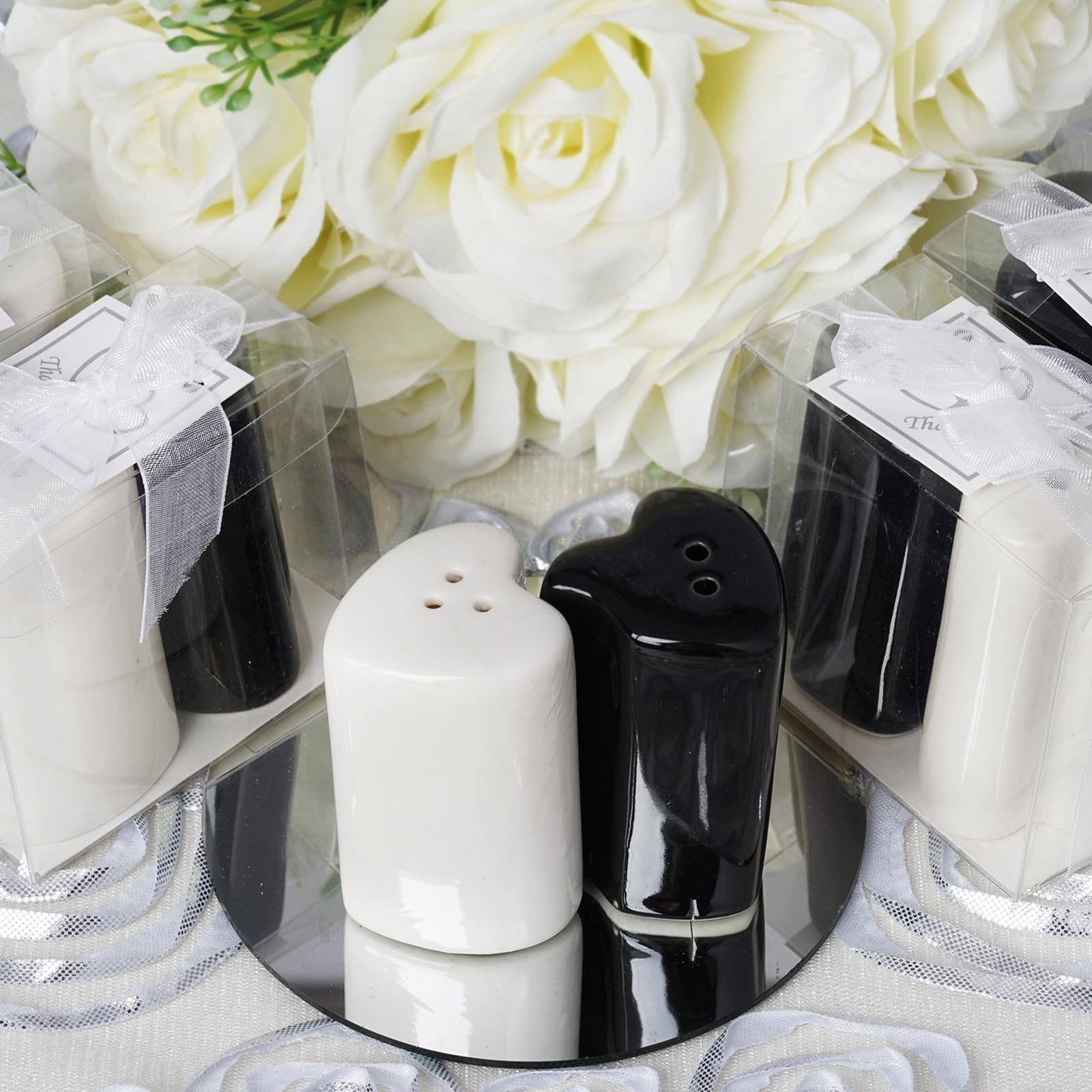 Heart Shape Salt & Pepper Shakers Container Set | eFavorMart
