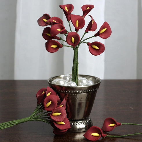 144 EXTRA TOUCH Peacock-Spread Craft Lilies- Burgundy