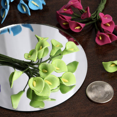 72 Handmade Turquoise Calla Lily Flowers