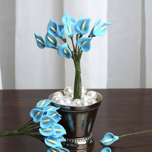 144 Pack | Turquoise Peacock Spread Craft Lilies
