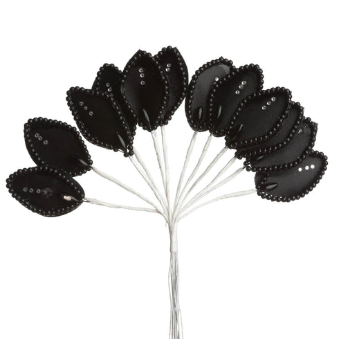 144 Black Poly Wired Craft Leafs With Faux Pearls & Rhinestones