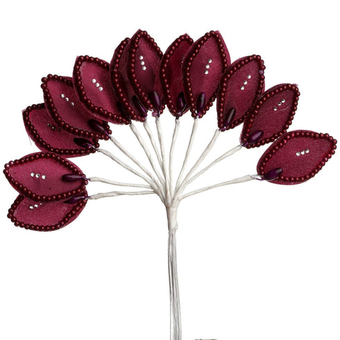 144 Burgundy Poly Wired Craft Leafs With Faux Pearls & Rhinestones