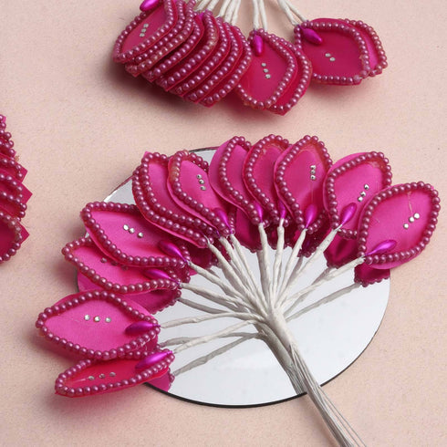 144 Fuchsia Poly Wired Craft Leafs With Faux Pearls & Rhinestones