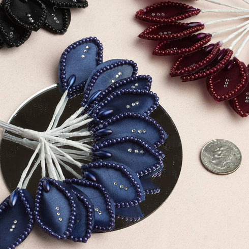 144 Navy Poly Wired Craft Leafs With Faux Pearls & Rhinestones