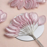 144 Pink Poly Wired Craft Leafs With Faux Pearls & Rhinestones