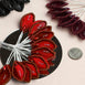 144 Red Poly Wired Craft Leafs With Faux Pearls & Rhinestones
