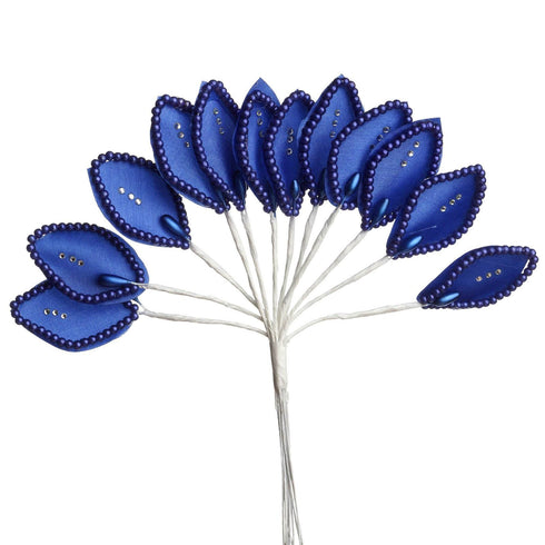 144 Royal Blue Poly Wired Craft Leafs With Faux Pearls & Rhinestones