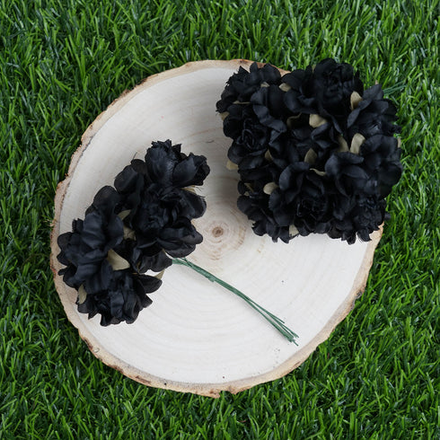 12 Bundle Black Semi Bloomed Craft Roses