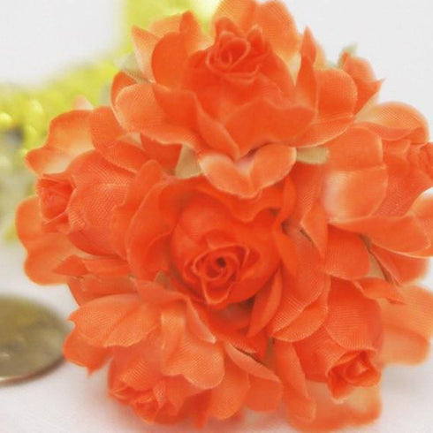 12 Bundle Orange Semi Bloomed Craft Roses