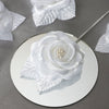 12pcs White Mini Satin Ribbon Rose